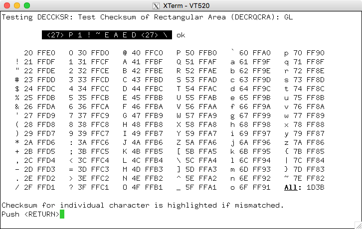 xterm running DECRQCRA test for GL
